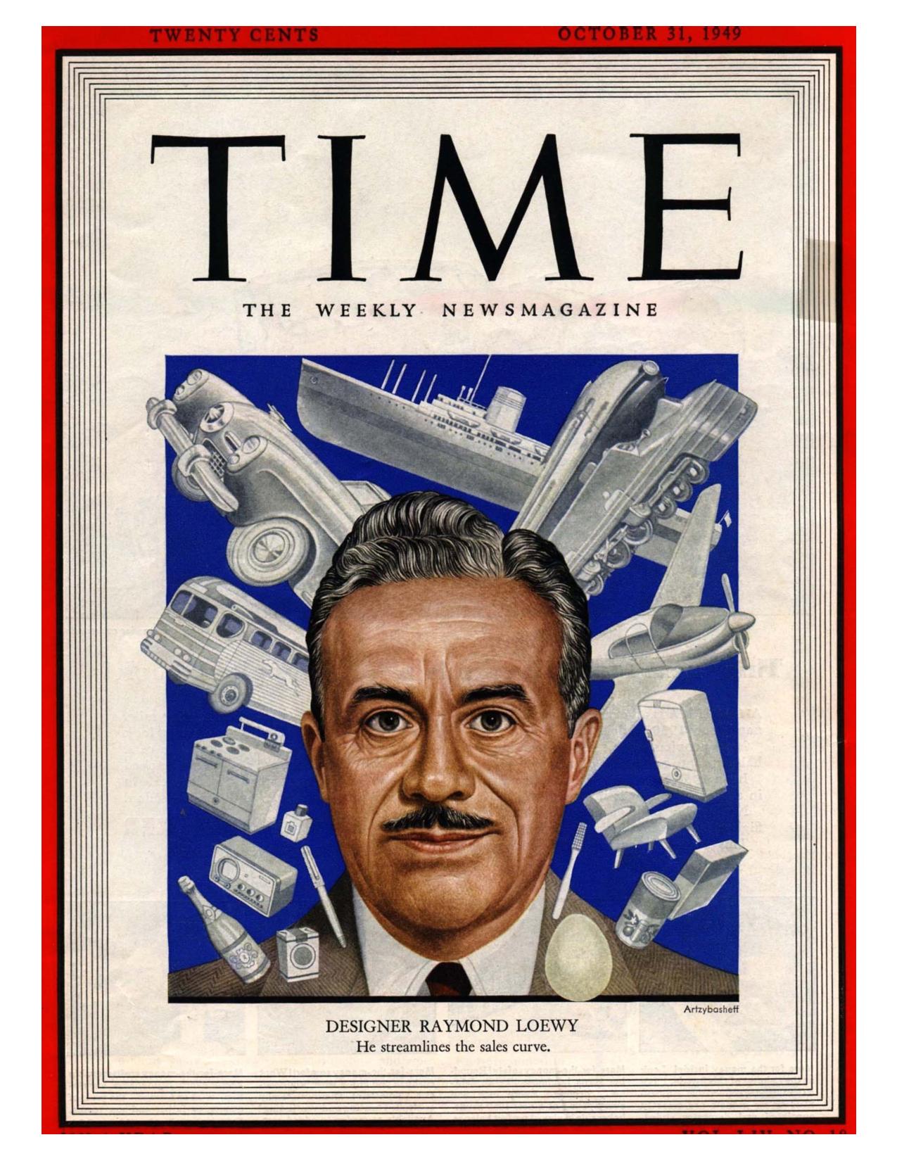 Raymond Loewy en la portada del TIMES